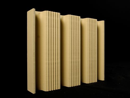 3D-printed prototype used in a series of terra-cotta profile design studies.